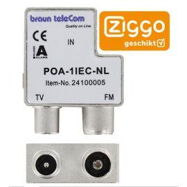 Braun Telecom POA 1 IEC-NL Opdruk verdeler TV-FM male/f-male
