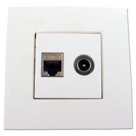 Hirschmann EDB 02U White CATV/DATA wcd + afdekplaat Niko
