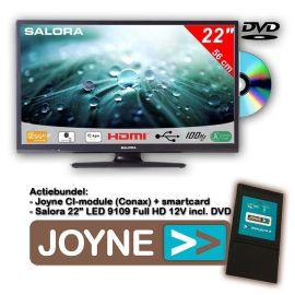 """Joyne bundel: Salora 22"""" LED 9109 Full HD 12V met dvd"""